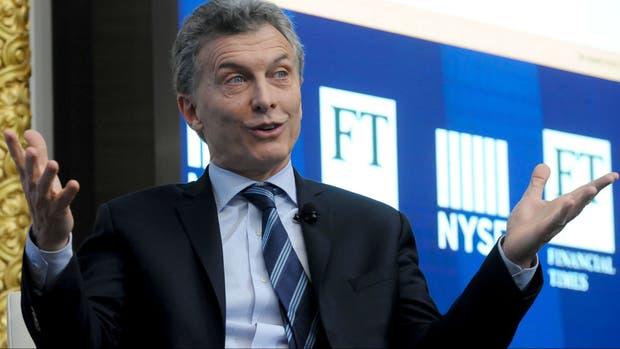 Macri, ayer, en la Bolsa de Nueva York