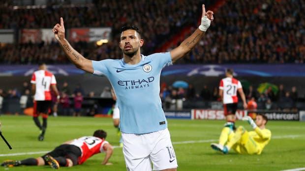 Agüero estiró su momento goleador en la Champions