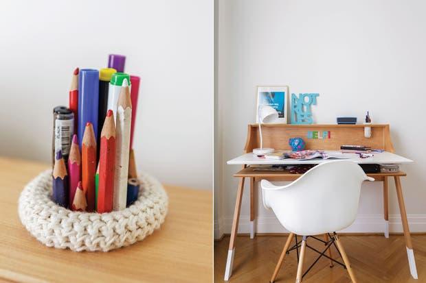 Silla 'Eames' de PVC con patas de madera (Buenos Aires Design) y lámpara 'Cuerno' (Iluminación Agüero)..  /Daniel Karp