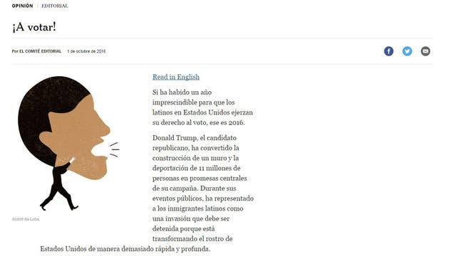 Histórico: The New York Times publica su primer editorial en español y lo hace para apoyar a Hillary
