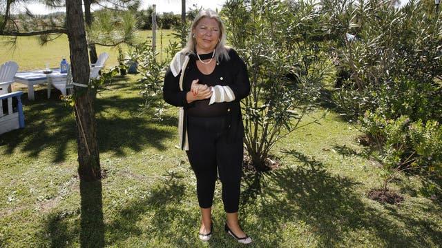 Lilita Carrió, ayer, en su casa de Capilla del Señor, después de una semana a puro protagonismo