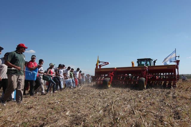Las máquinas en acción despertaron el interés de cientos de productores