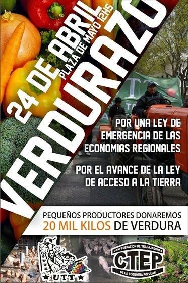 """""""Verdurazo"""" en Plaza de Mayo en reclamo de una ley de emergencia"""