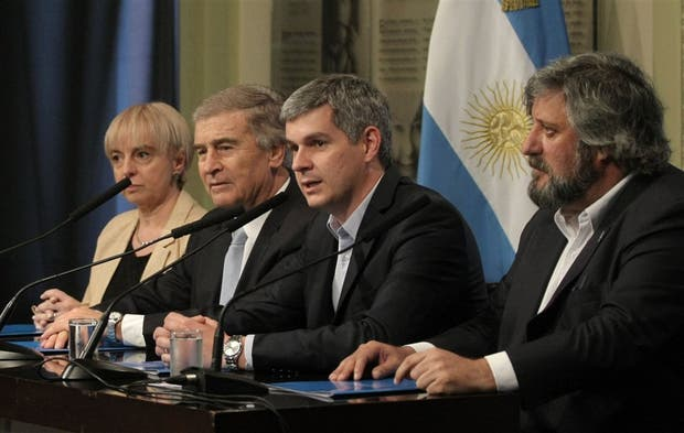 Giudici, Aguad, Peña y De Godoy, ayer en conferencia de prensa