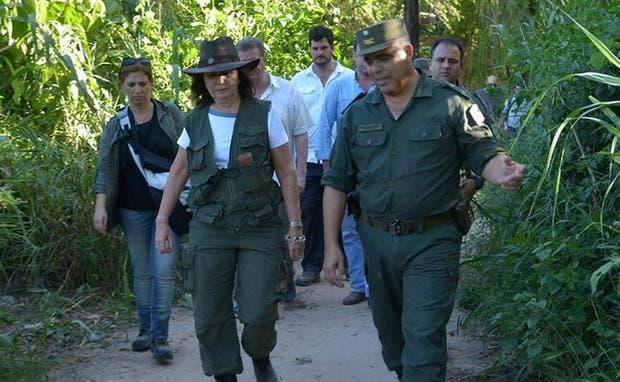 La ministra Patricia Bullrich, durante un reciente operativo de seguridad en la frontera