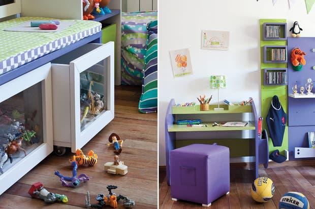 Un mueble con módulos componibles da infinitas posibilidades de guardado y de exhibición de muñecos y juguetes.  Foto:Living /Magalí Saberian