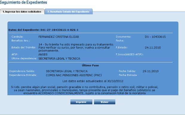 Captura de pantalla del expediente que tramitó la Presidenta para obtener una Pensión No Contributiva