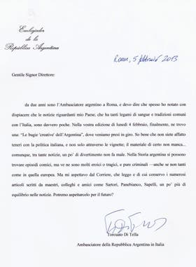 La carta que Di Tella le envió al diario