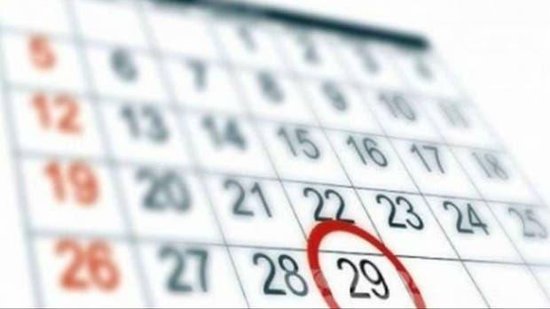 El calendario con el 29 de febrero incluído
