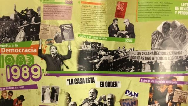 La lámina para explicar el mandato de Raúl Alfonsín; entre lo positivo está la vuelta de la democracia y, entre lo negativo, las leyes de olvido y perdón a los militares