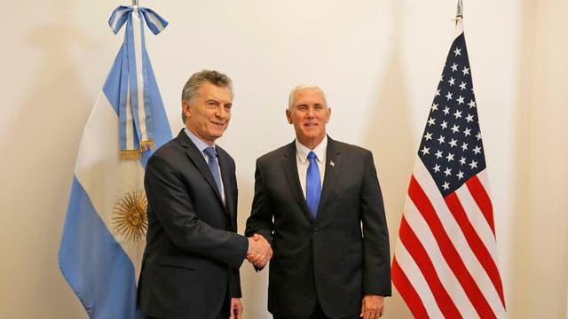 Macri y el vicepresidente de los EE.UU., Pence, en la Casa Rosada la semana pasada