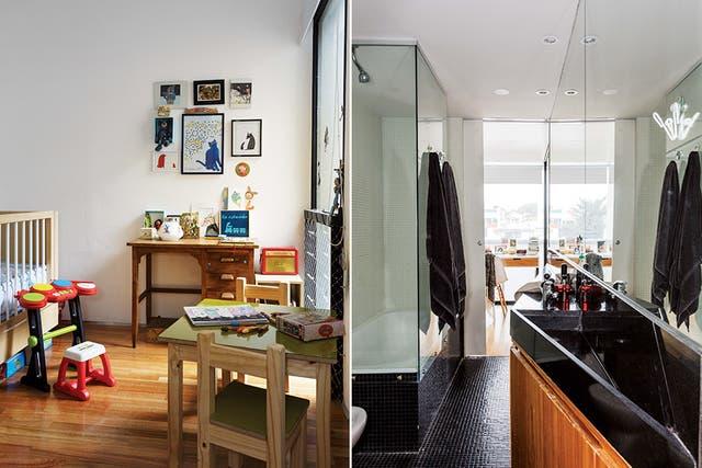 En el baño, para ganar espacio de guardado, se puso un mueble bajomesada con atractivo frente de listones de madera