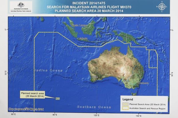 Imagen facilitada por la Autoridad Australiana de Seguridad Marítima (AMSA); muestra el área de búsqueda del avión de Malaysia Airlines desaparecido