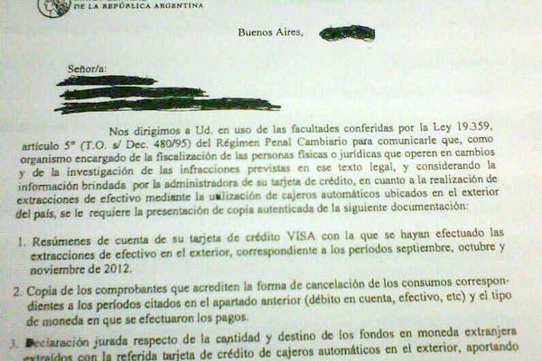 Una carta enviada por el Banco Central