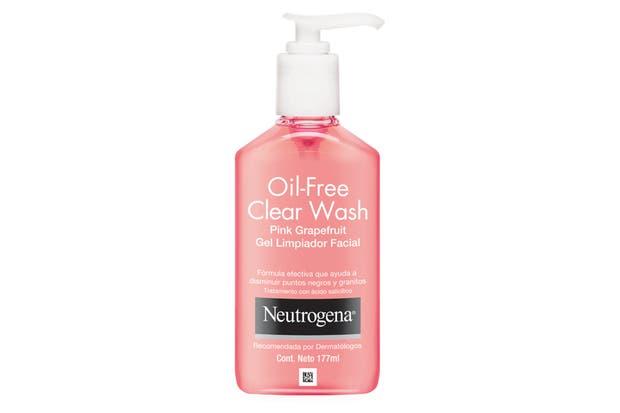 Gel de limpieza con pomelo. Limpia y exfolia la piel con granitos, impurezas y acné. $107, Neutrogena.
