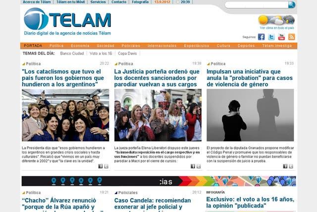El sitio de la agencia oficial Télam