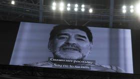 Diego Maradona, en las pantallas del estadio de San Petersburgo, durante la Copa de las Confederaciones