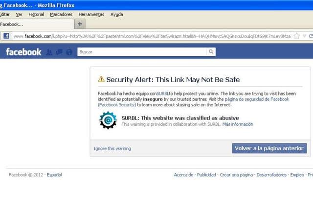 Con este aviso, Facebook impide ingresar a la Web donde se muestran las filtraciones de los registros de SUBE