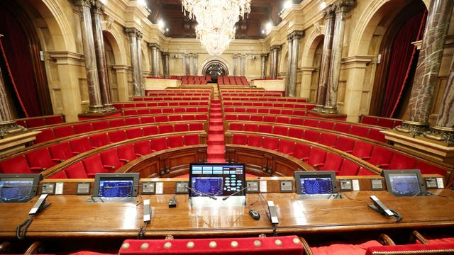 El Parlamento catalán vacío, antes de la sesión sobre la independencia