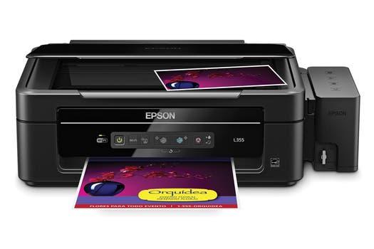Epson L355: inyección de tinta continua multifunción, con impresión, copia y escaneo, con conexión USB / Wi-Fi.