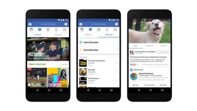 Una vista de la versión móvil de Facebook Watch