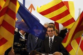 El presidente catalán, Artur Mas, ayer, durante la evaluación que hizo de los resultados electorales