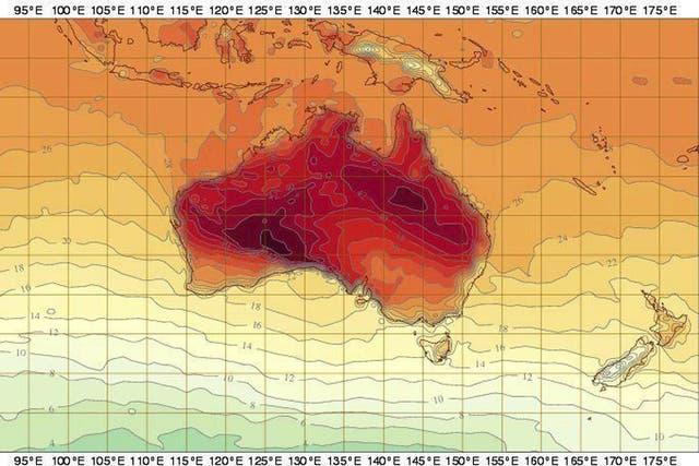 Las zonas más oscuras del mapa, color púrpura, son las que marcan la ubicación de la ola de calor