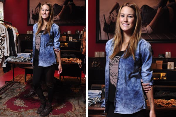 Luli Fernández pasó por el local de Wanama y lució su camisa de jean desgastada, remera con estampa de tigre, calzas y borcegos. ¡Muy trendy!. Foto: Prensa Wanama y Cook