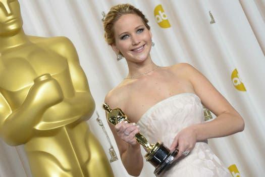 6. Jennifer Lawrence, última ganadora del Oscar por la película El lado luminoso de la vida. Foto: AFP