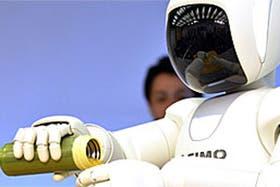 Asimo, el robot humanoide inteligente de la compañía Honda, es capaz de encender luces, abrir puertas y cargar objetos