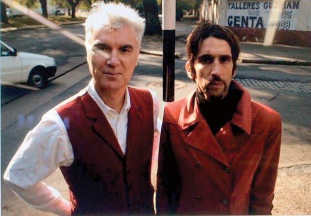"""Con David Byrne, en la filmación del clip de """"Hoy no le temo a la muerte"""""""