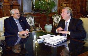 Héctor Méndez, de la UIA, y el presidente Néstor Kirchner, en su último encuentro, en enero pasado