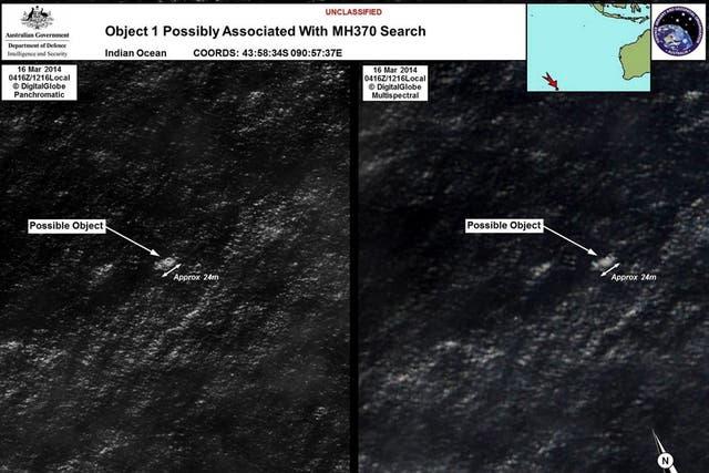 La imagen de satélite tomada por DigitalGlobe muestra objetos que podrían pertenecer al avión desaparecido de Malaysia Airlines