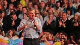 El presidente de la Nación, Mauricio Macri, durante el cierre de campaña oficialista