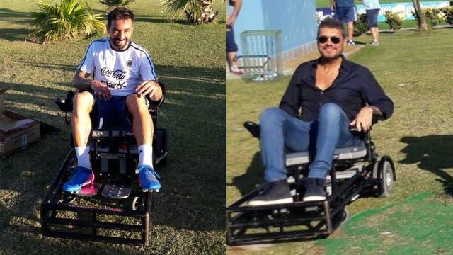 El Pocho y Marcelo Tinelli se subieron a las sillas de rueda