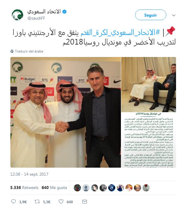 Captura pantalla tweet oficial
