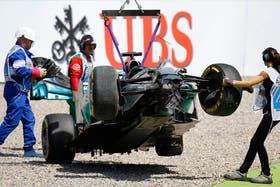 El auto de Hamilton, tras el accidente