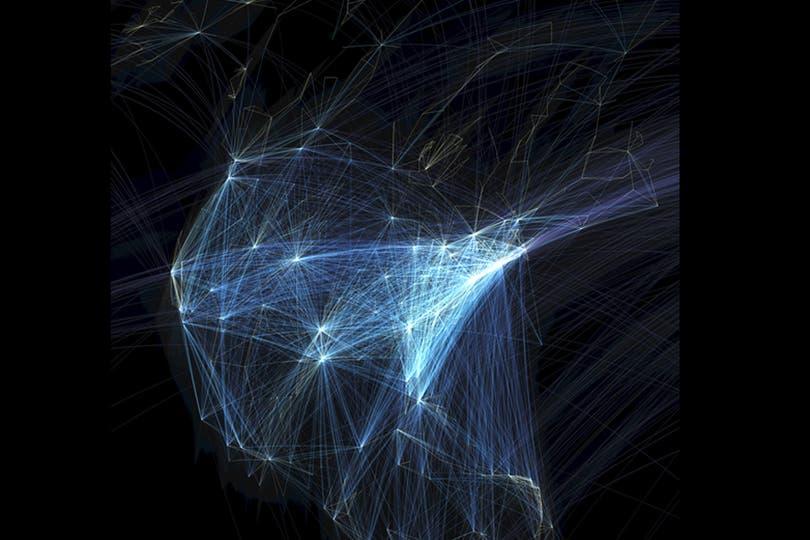 Un planificador de transporte desarrolló una visualización de las rutas de vuelos en los cinco continentes. Foto: BBC Mundo/Michael Markieta/Arup