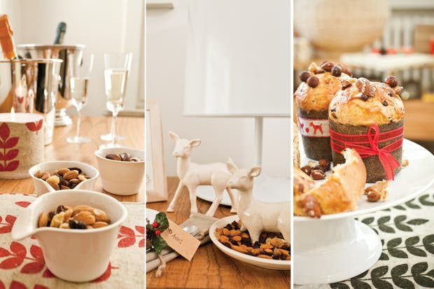 Sobre los individuales de fieltro, un pie de torta, una fuente de porcelana, una tabla de madera natural y unos platos de postre (todo de L Interdit)..
