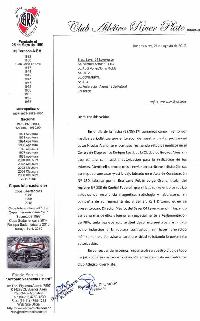 El comunicado que anunció River sobre Lucas Alario