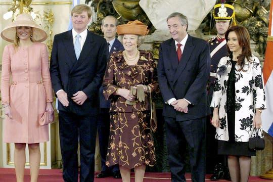 La foto oficial de la visita oficial de la casa real holandesa a la Argentina. Foto: Archivo