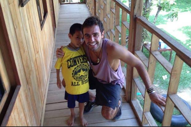 Gonzalo, con Saun, antes de que sea operado