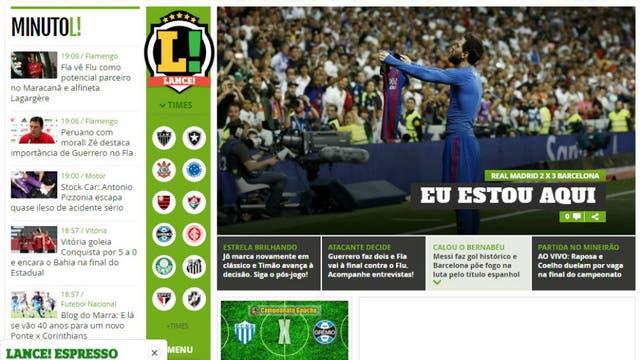 El diario Lance, de Brasil. Foto: Archivo