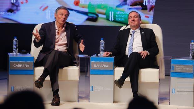Los ministros de Producción, Francisco Cabrera,y de Ciencia Lino Barañao en el CCK