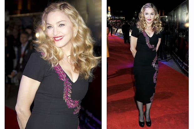 Madonna tampoco se destacó por sus looks en 2011; o eran muy extravagantes o muy aburridos, como éste. Foto: Archivo