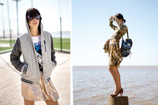 Izq: Remera manga corta (AYNotDead, $298), campera (Nike, $1100), gafas (Infinit, $930), falda (Jazmín Chebar, $835). Der: Camisa con recorte (MesSage, $359), camisa anudada (Paula Cahen d'Anvers, $840), falda (Maria Vazquez, $1199), mochila nevada (Como quieres, $419), stilettos (Prüne, $959). Foto: Coni Dietrich