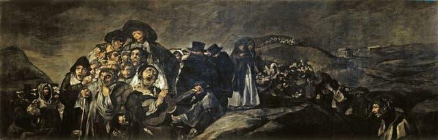 """La romería de San Isidro (1820-23) Parte de un conjunto de catorce escenas conocidas como """"Pinturas Negras"""" (por el uso de pigmentos oscuros y lo sombrío de los temas) que decoraban dos habitaciones de la casa de campo del artista, la Quinta del Sordo, demolida en 1909."""