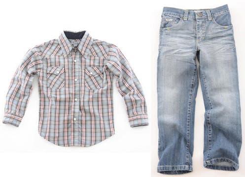 Ideal para chicos cancheros, camisa ($156) y jean ($144) de Stone Junior. Foto: lanacion.com