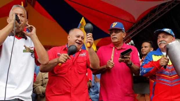 Cabello, ayer, en un acto chavista en Caracas