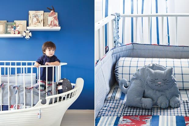 """""""Cuando Valentino vio la habitación terminada, quedó fascinado. La cuna la usa mucho para jugar: con la pared pintada de azul siente que está navegando en alta mar."""".  Foto:Living /Magalí Saberián"""